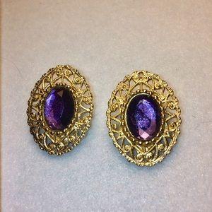 Sarah Coventry Amethyst Earrings